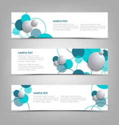 Collection banners with blue circles and bubbles vector