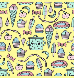 colorful seamless pattern for cooks with food vector image