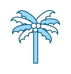 Cute blue beach palm cartoon vector