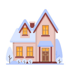 cute snowy suburban house two storey cottage vector image