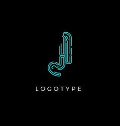Cyber letter j for digital technology logo concept vector