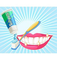 Dental theme with toothbrush and paste vector image