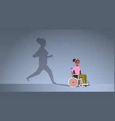Disabled african american girl on wheelchair vector