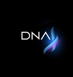 Dna logo helix fragment glow biotechnology vector