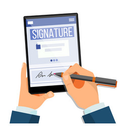Electronic signature tablet vector