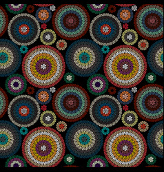 Embroidery seamless pattern ornament with colored vector