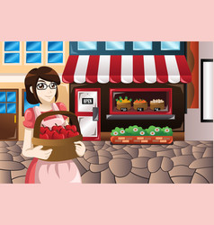 Female store owner standing in front of her store vector
