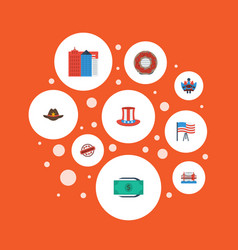 Flat icons greenback stamp doughnut and other vector