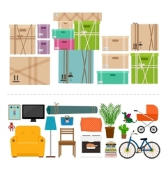 Furniture and boxes icons set vector