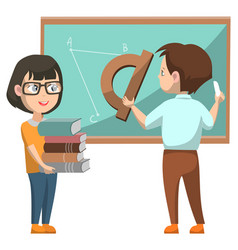 Girl and boy in class at school near blackboard vector