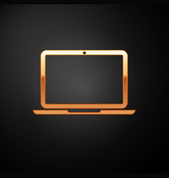 Gold laptop icon isolated on black background vector