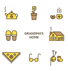 Grandmother home set of flat line icons vector