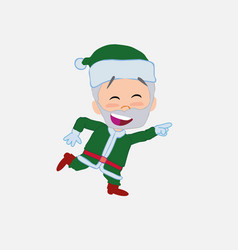 Green santa claus running smiling vector