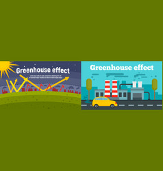 Greenhouse effect banner set flat style vector