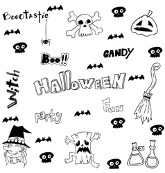 Halloween witch scary element doodle vector