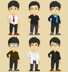 Handsome Young Man Character Set vector image