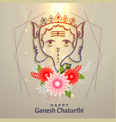 Happy ganesh chaturthi festival greeting with vector