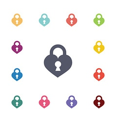 heart lock flat icons set vector image
