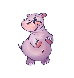 hippopotamus in cartoon style vector image