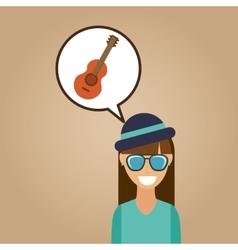 hipster girl guitar music retro color vintage vector image