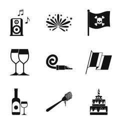 hooch icons set simple style vector image
