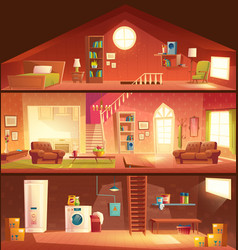 house cross section interiors cartoon vector image