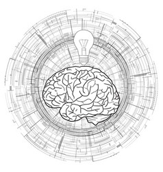 human brain and a light bulb on technical vector image