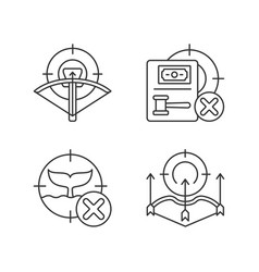 hunting provisions and restrictions linear icons vector image