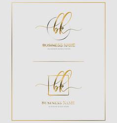 Initial b k bk handwriting logo letter vector