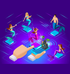 isometric avatars of mermaids with different vector image