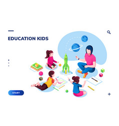 isometric class at kindergarten with woman teacher vector image