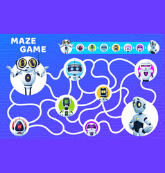Labyrinth maze game riddle with cartoon robots vector