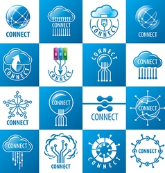 large set of logos connect vector image