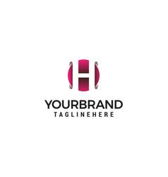letter h in circle shape logo design concept vector image