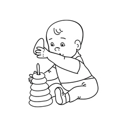 Little lovely baby boy playing with toys vector
