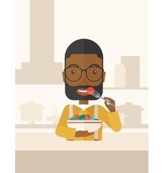 Man eating salad vector image