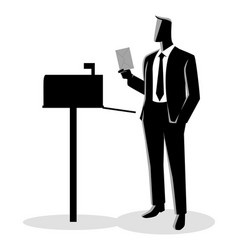 man opened mailbox receiving a letter vector image