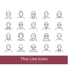 Man woman portraits people linear icons set vector