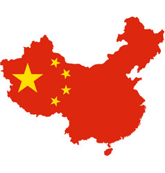 map of china with national flag vector image