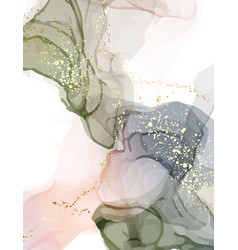 marble acrylic ink watercolor liquid flow green vector image