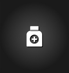 medicine bottle icon flat vector image
