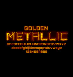 metallic golden font english alphabet and numbers vector image