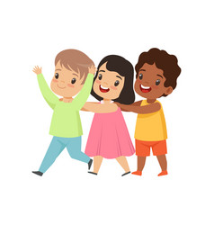 Multicultural little kids having fun together vector