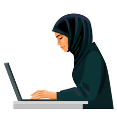 Muslim business woman working on computer vector