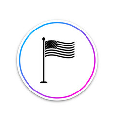 national flag usa on flagpole icon isolated on vector image