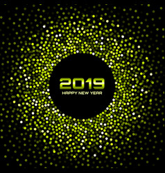 New year 2019 card background green confetti vector