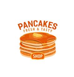 pancakes shop cafe dessert cartoon icon vector image