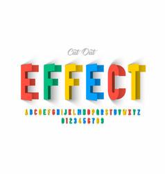 Paper cut out effect font design alphabet letters vector