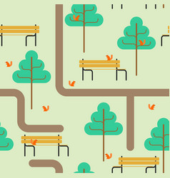 park map pattern path and tree ornament bench and vector image