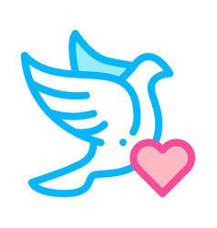 pigeon and heart wedding thin line icon vector image